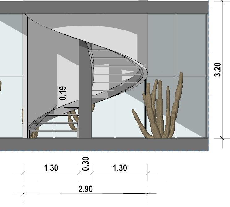 progetto di una scala a chiocciola - sezione