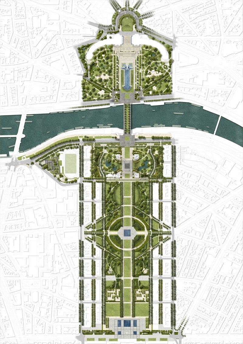 Il progetto di riqualificazione dei giardini della Torre Eiffel