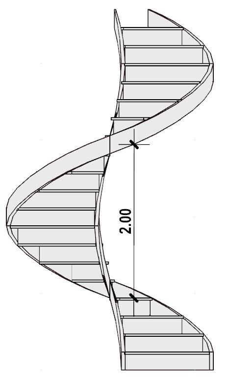 progetto di una scala a chiocciola - Distanza minima tra due punti omologhi