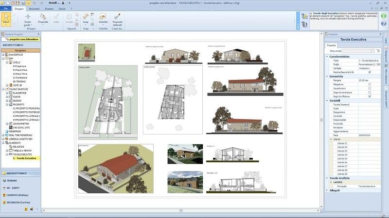 progetto casa bifamiliare - tavola esecutiva