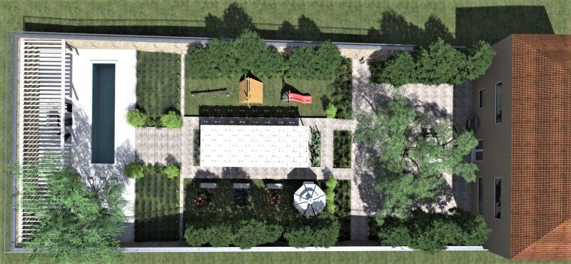Come progettare un giardino: render realizzato con Edificius