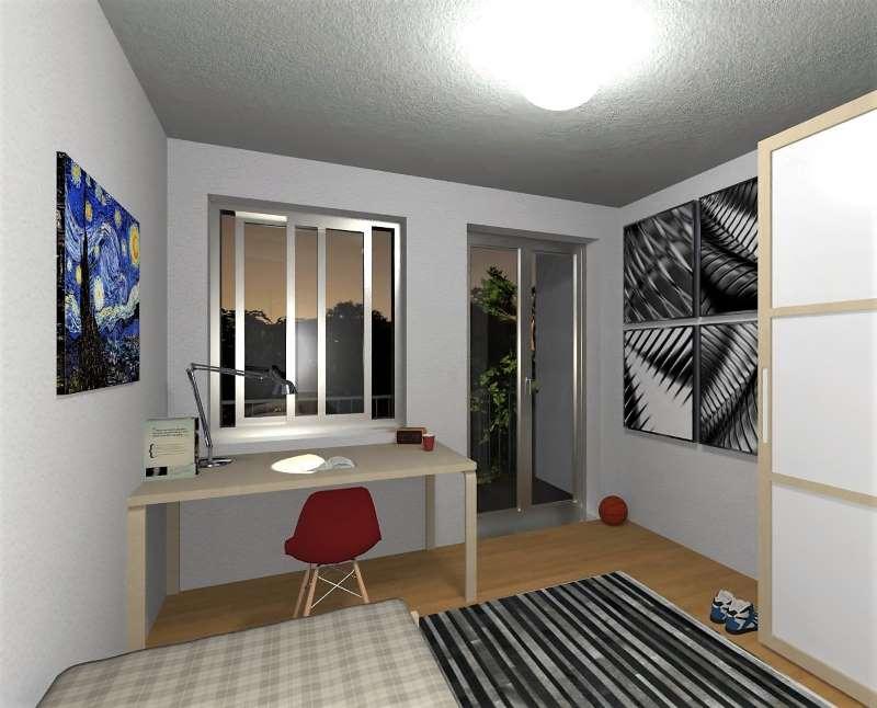 Render foto realistico che mostra l'interno di una camera da letto studio relativo al progetto di una casa per studenti