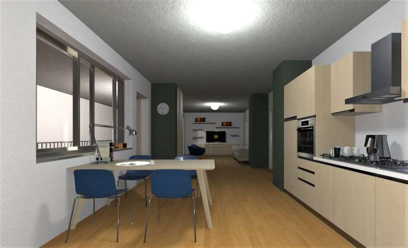 Render foto realistico che mostra l'area cucina soggiorno di una cellula abitativa relativa al progetto di una casa per studenti