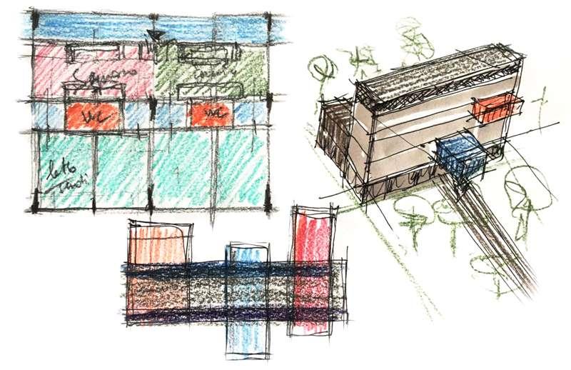 Immagine a colori che mostra alcuni schizzi di concept design relativi al progetto di una casa per studenti universitari