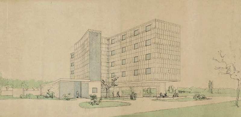 Immagine a colori che mostra la riproduzione di un disegno di Le Corbusier raffigurante il Padiglione Svizzero presso la città internazionale universitaria di Parigi