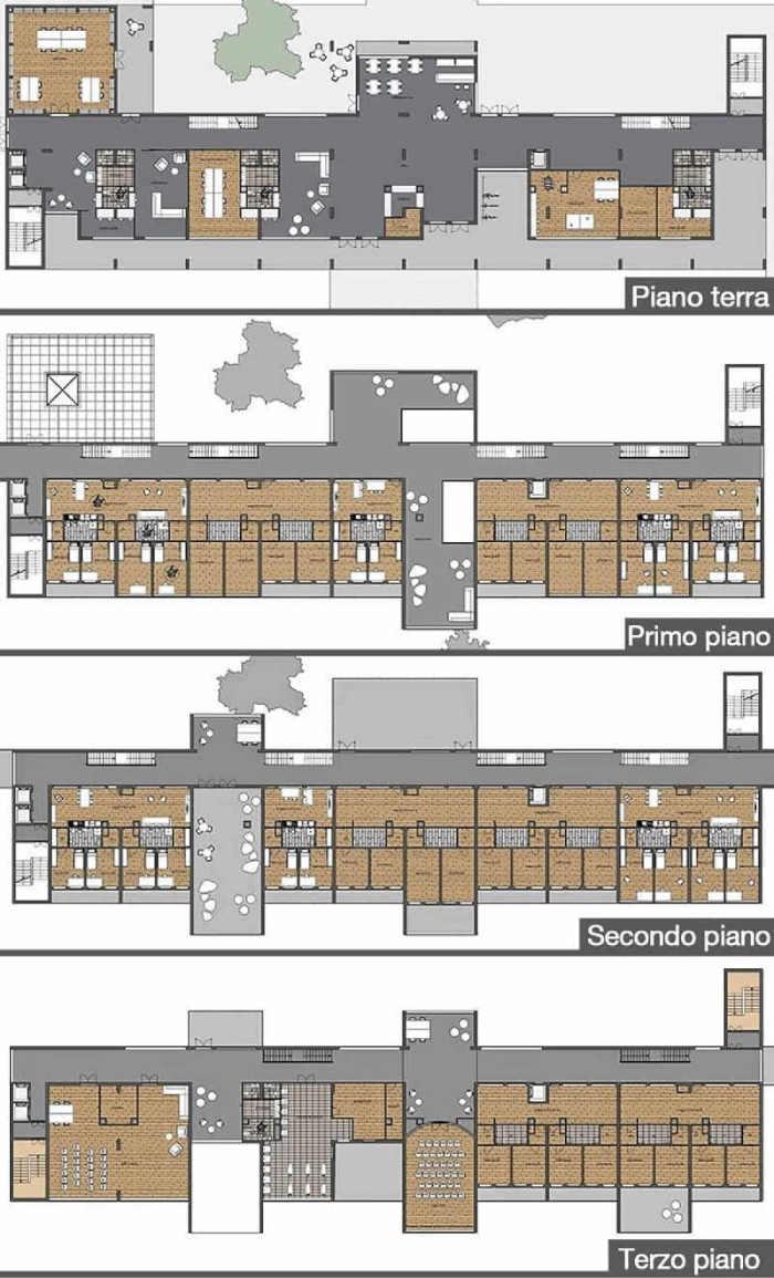 Immagine a colori che mostra le piante dei quattro livelli relative al progetto di una casa per studenti