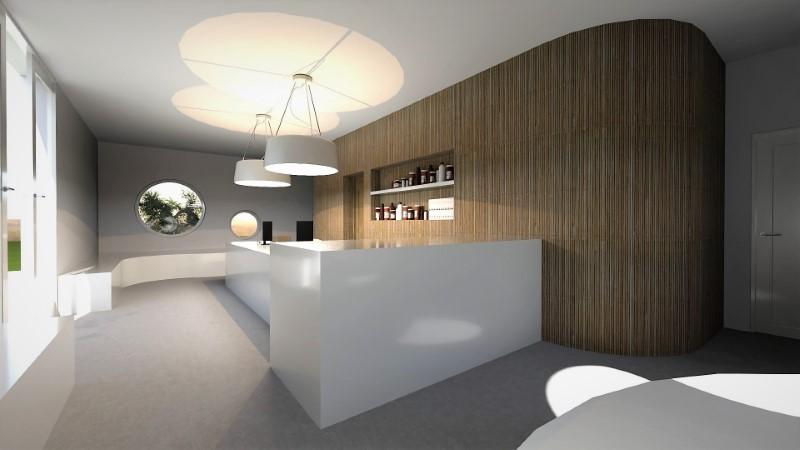 Render foto realistico che mostra una vista della sala di attesa del progetto di un ambulatorio veterinario