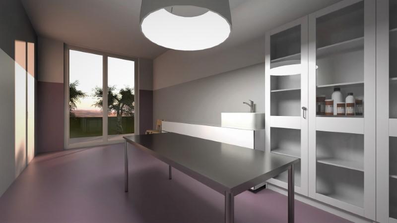 Render foto realistico che mostra la sala chirurgica del progetto di un ambulatorio veterinario