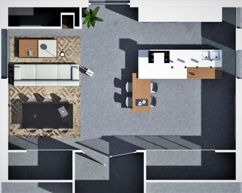 Immagine a colori che mostra la pianta di una zona soggiorno cucina progettata come open space