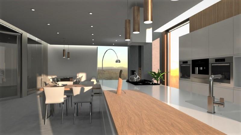 Render foto realistico che mostra la vista di una zona soggiorno e cucina progettata come open space