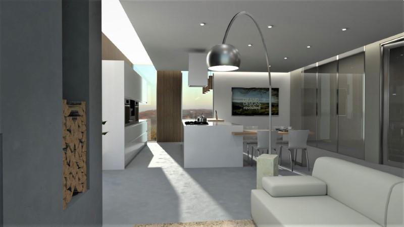 Render foto realistico che mostra la vista di un ambiente di soggiorno progettato come open space