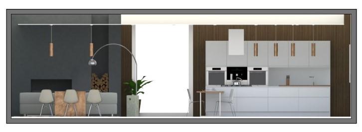 Immagine a colori che mostra la sezione trasversale di una zona soggiorno cucina progettata come open space