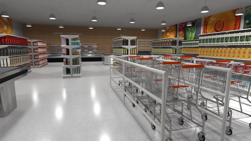 Render foto realistico che mostra una vista interna relativa al progetto di un supermercato