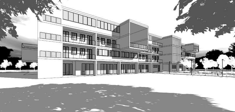 Immagine in bianco e nero che mostra una vista prospettica relativa al progetto di una casa per studenti