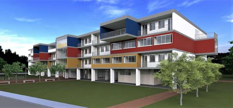 Render foto realistico che mostra la vista prospettica del fronte principale del progetto di una casa per studenti
