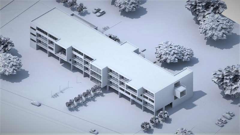 Immagine monocroma che mostra una vista assonometrica relativa al progetto di una casa per studenti