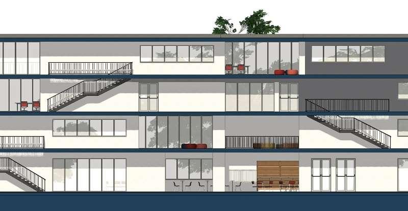 Immagine a colori che mostra la sezione longitudinale di progetto di una casa per studenti
