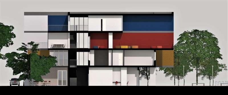 Immagine a colori che mostra la sezione trasversale sulla loggia a doppia altezza relativa al progetto di una casa per studenti