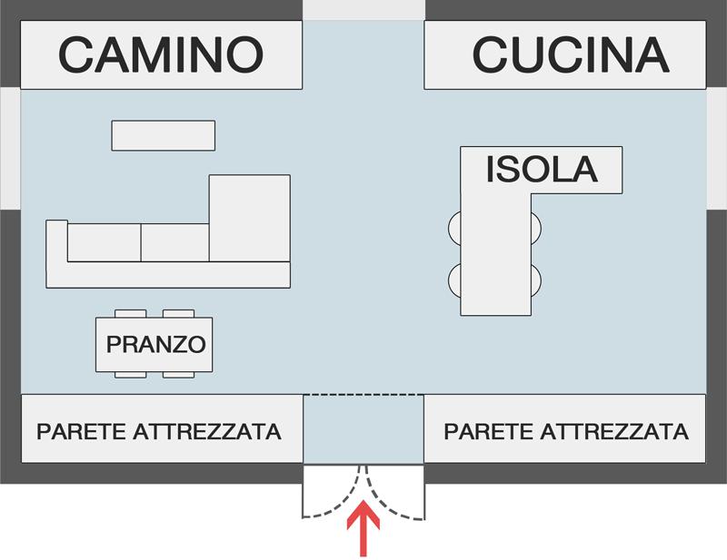 Immagine a colori che mostra lo schema in pianta di una soluzione progettuale relativa a come progettare un open space