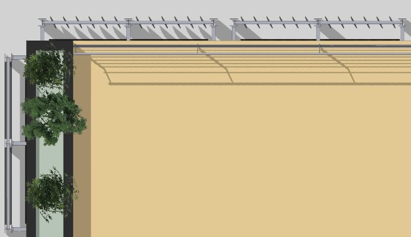 Immagine a colori che mostra il dettaglio sud ovest della copertura di un edificio dotato di frangisole