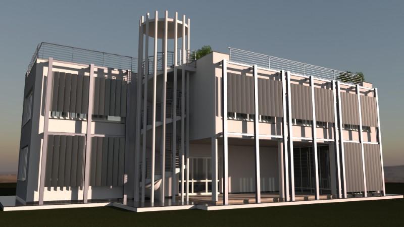 Render foto realistico che mostra la facciata ovest di un edificio con schermature solari