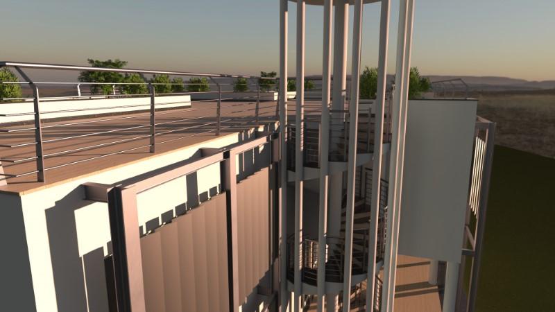 Render foto realistico della facciata ovest di un edificio dotato di frangisole verticale