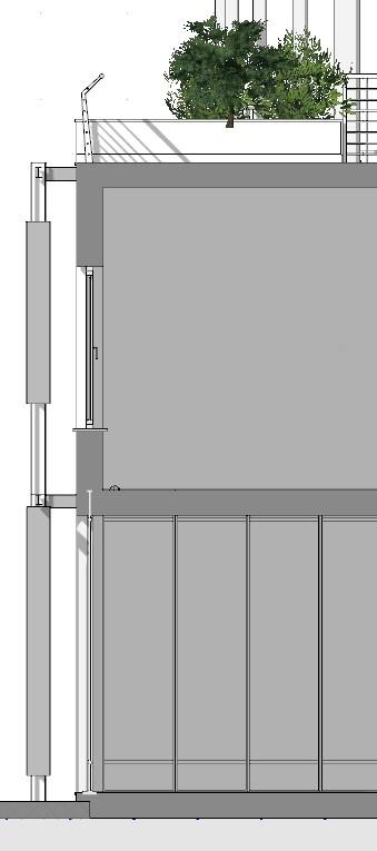Immagine a colori che mostra il dettaglio in sezione di un frangisole orizzontale posto sulla facciata ovest di un edificio