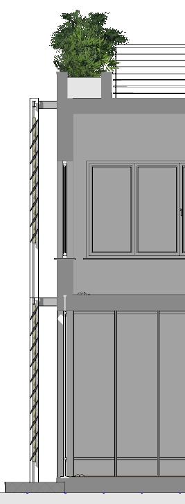 Immagine a colori che mostra il dettaglio in sezione di un frangisole orizzontale posto sulla facciata sud di un edificio