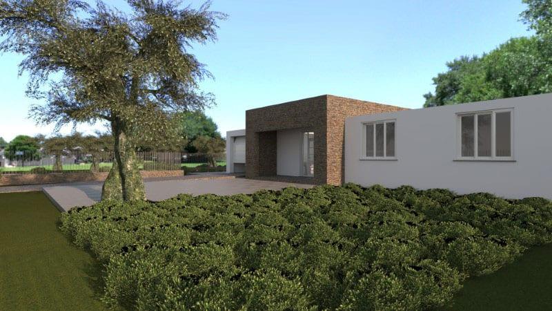Render foto realistico che mostra la facciata principale dal giardino di una villa singola