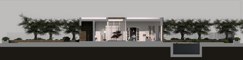 Immagine a colori che mostra la sezione longitudinale sull'area living di una villa singola