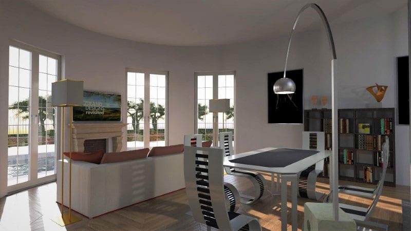 Render foto realistico che mostra il soggiorno di una villa singola