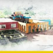 Immagine a colori che mostra la copertina con rappresentata una delle facciate del progetto di una ludoteca