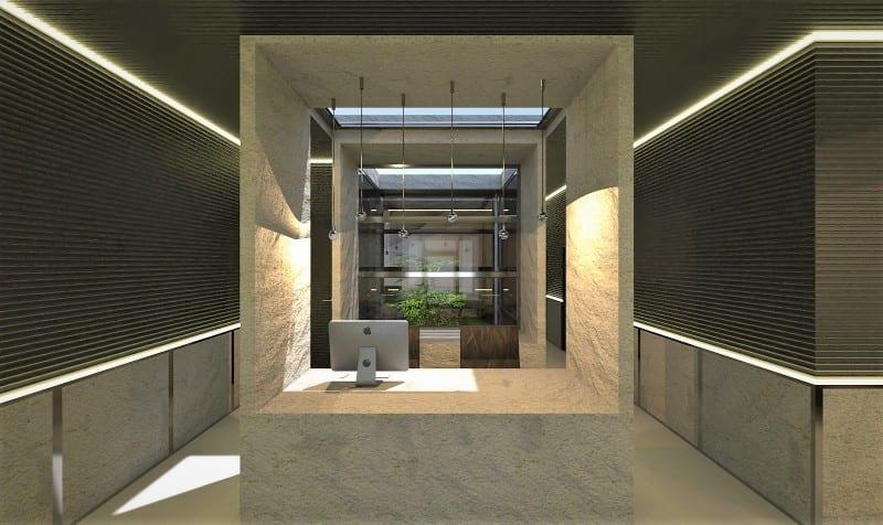 Render foto realistico che mostra una vista della reception del progetto di uno studio dentistico