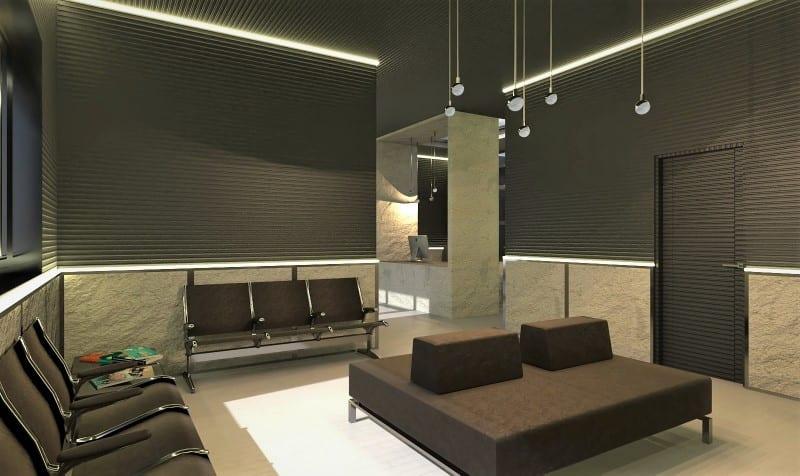 Render foto realistico che mostra la sala di attesa del progetto di uno studio dentistico