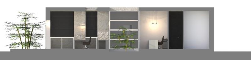 Immagine a colori che mostra la sezione del progetto di uno studio dentistico