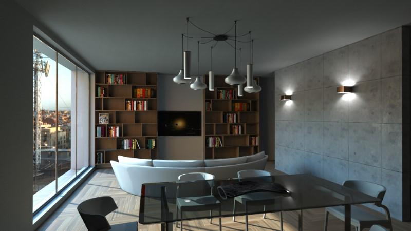 Render foto realistico che mostra la soluzione progettuale di un soggiorno con ingresso diretto
