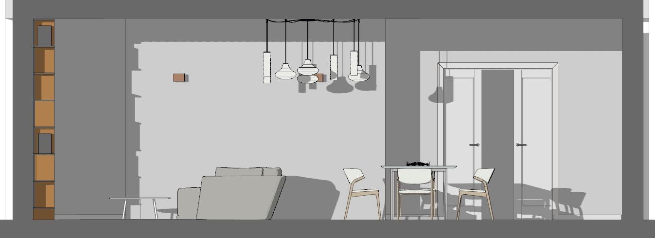 Immagine a colori che mostra la sezione di progetto di un soggiorno