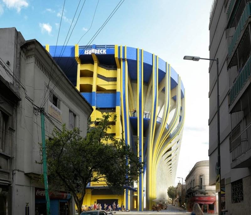 Progetto della Bombonera vista dalle strade circostanti