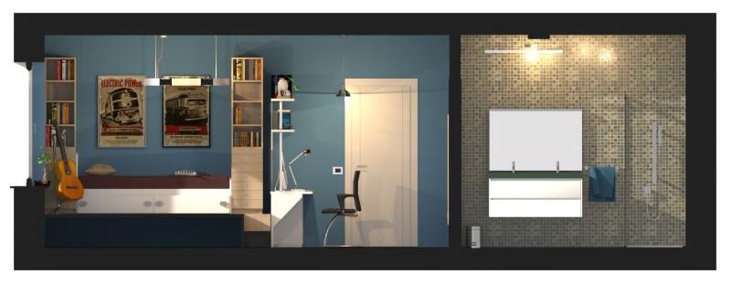 Immagine che riporta una sezione a colori della camera per ragazzi doppia