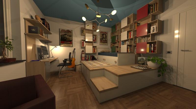 Render foto realistico che mostra una camera per ragazzi singola