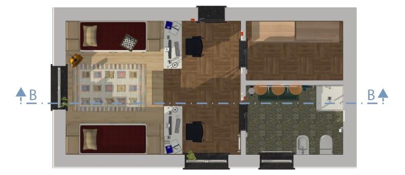 Immagine che mostra una camera per ragazzi doppia in pianta