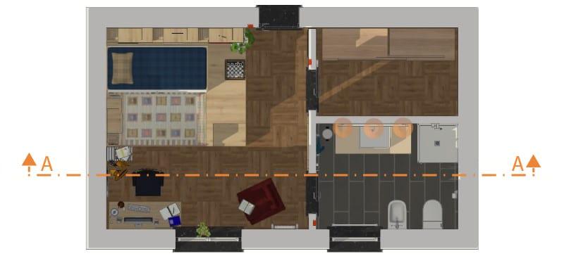 Immagine che mostra una camera per ragazzi singola in pianta