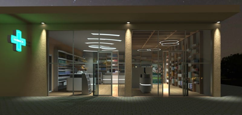 Render foto realistico che mostra l'ingresso e le vetrine su strada del progetto di una farmacia