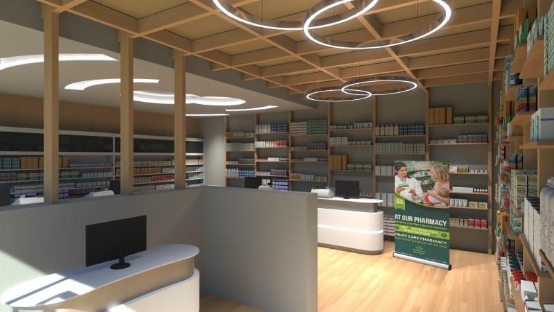 Render foto realistico che mostra una vista di scorcio verso gli scaffali dell'area vendita del progetto di una farmacia
