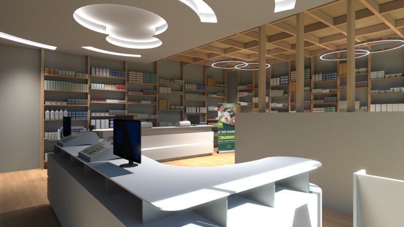 Render foto realistico che mostra una vista di scorcio dell'area vendita del progetto di una farmacia