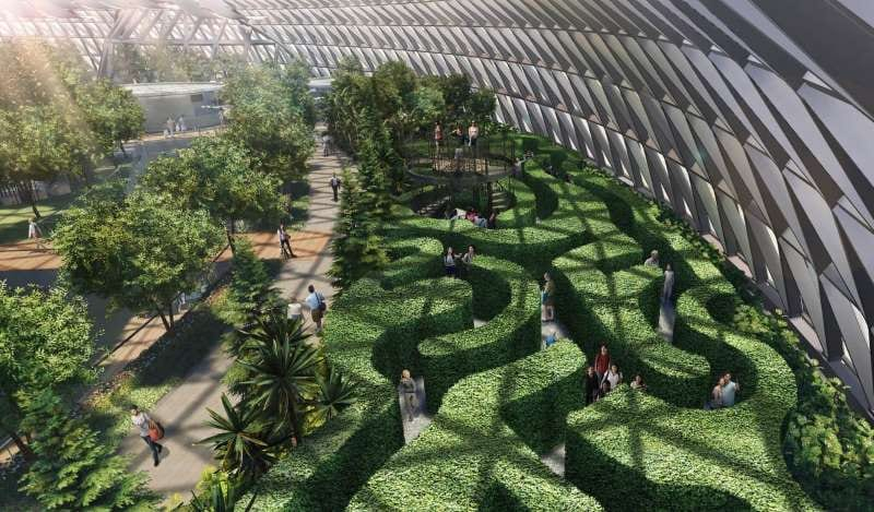 Aeroporto internazionale Changi di Singapore: il labirinto di siepi