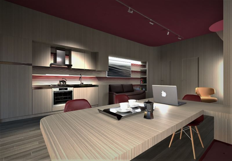 Render foto realistico che mostra una vista della zona living dal tavolo pranzo lavoro verso la cucina del progetto di come trasformare un garage in appartamento