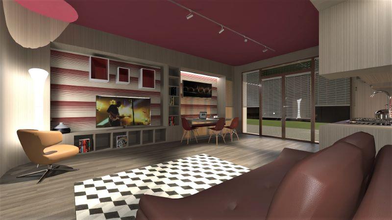 Render foto realistico che mostra una vista dal divano verso la zona pranzo lavoro del progetto di come trasformare un garage in appartamento