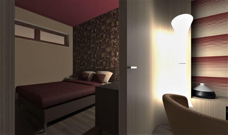 Render foto realistico che mostra una vista dalla zona living verso la camera da letto del progetto di come trasformare un garage in appartamento