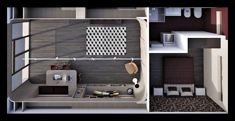 Immagine a colori che mostra la vista zenitale del progetto di come trasformare un garage in appartamento